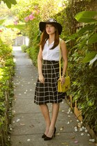 black Zara hat - yellow Hermes bag - black Promod skirt