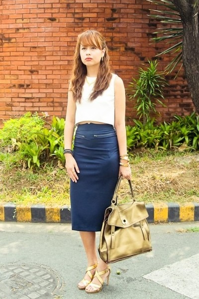 white apartment 8 top - gold YSL bag - gold Diane Von Furstenberg heels