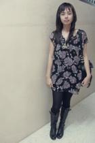 Miu Miu accessories - Linea Italia boots - Zara tights - Silver blouse - Forever