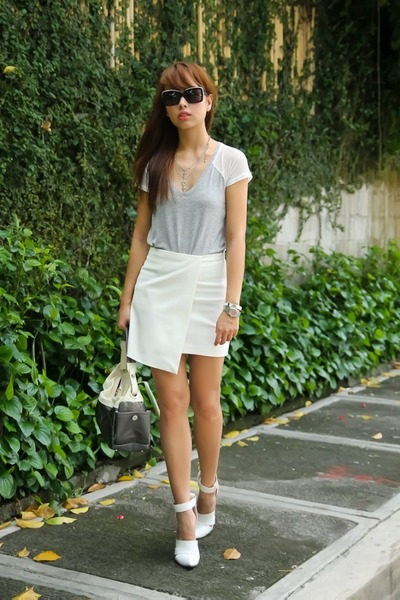 white Alexander Wang shoes - silver Chanel bag - white Mango skirt
