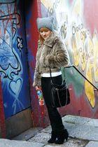 black H&M pants - black Bershka boots - black Marc B accessories - brown River I