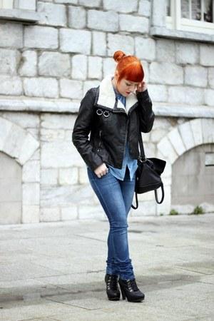 H&M jacket - Topshop boots - Only jeans - Topshop shirt - Topshop bag