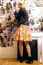 gold Dorothy Perkins dress - black Zara jacket - black Bershka boots - gold Acce