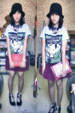 artwork shirt - sm accessories hat - sm accessories bag - Sugar and Spice skirt