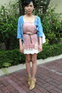 Blue-denim-cotton-on-blazer-pink-zara-skirt-white-forever-21-skirt