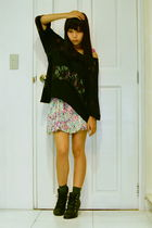 black chicasian couture boots - pink random from china dress - black Topshop blo