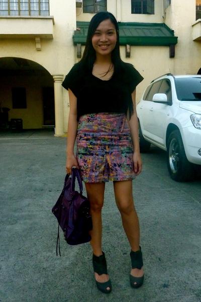 black Zara blouse - purple undernourishedmanilamultiplycom skirt - purple balenc