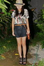 Black-ichigo-shoes-black-pink-manila-shorts-beige-zara-blouse-brown-random