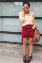 crimson f21 skirt - nude Topshop blouse