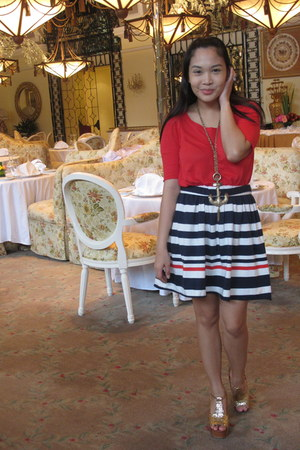 red Zara blouse - blue F-Stop skirt