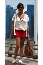 red River Island shorts - white f21 blouse