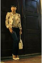 white Chanel bag - white neiman marcus shoes - beige zoocomph blazer