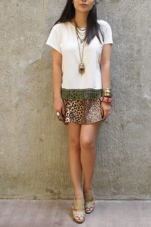 tan Guess heels - dark brown animal print Zara skirt - white DIY top