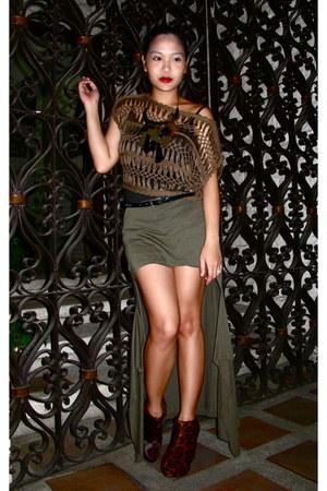 olive green chrocheted from ramp blouse - olive green diy Zara skirt - brown Vir