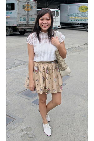 beige Zara blouse - beige had it made skirt - beige Topshop shoes