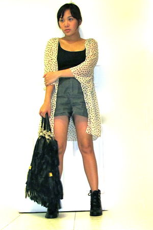 gray Forever 21 shorts - beige had it made blouse - black chicasian couture boot