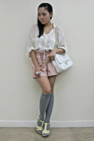 light pink random from china shorts - ivory Zara blouse - heather gray River Isl