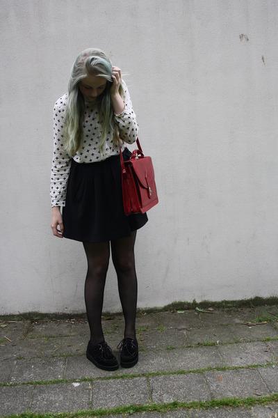 thriftshop bag - creeper shoes - crossed H&M blouse - skater Monki skirt