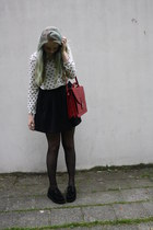 thriftshop bag - creeper shoes - crossed H&M blouse - skater Monki skirt