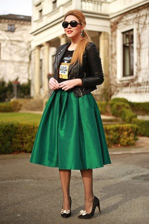 forest green Sheinside skirt - black Mango shoes - black Zara jacket