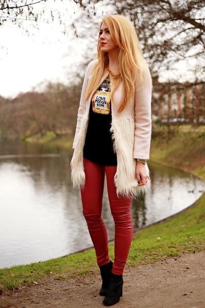 black Zara shoes - cream Sheinside coat - black Sheinside sweater