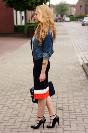 color block Primark skirt - denim Mango jacket - navy calvin klein bag