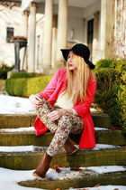 hot pink sammydress coat - dark brown H&M shoes - black She hat