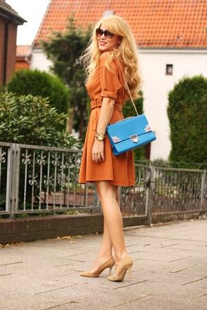 blue Lookbook Store bag - burnt orange Esprit dress - camel Aldo pumps