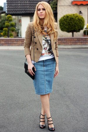 denim H&M skirt - camel Mango blazer - printes Primark t-shirt