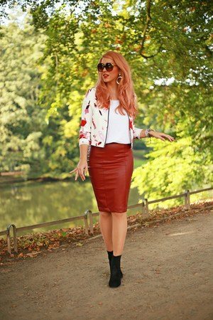 black Zara shoes - white Sheinside jacket - brick red New Yorker skirt