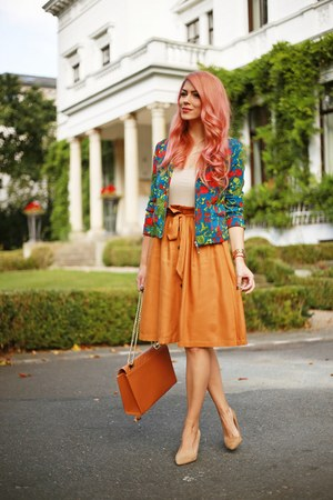 camel Aldo shoes - green Choies jacket - burnt orange Esprit skirt