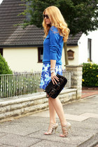 blue random brand sweater - printed H&M dress - black Fendi bag