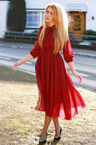 black Mango shoes - ruby red Sheinside dress