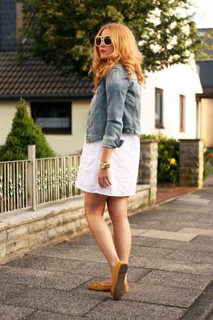 mustard H&M shoes - white calvin klein dress - denim Esprit jacket