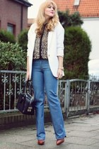 brown Phillip Lim shoes - blue Chloe jeans - white Zara blazer