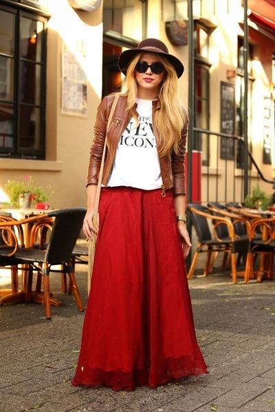 ruby red Lookbook Store skirt - light brown Esprit hat - brown Bebe jacket