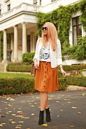 black Zara shoes - white Sheinside jacket - carrot orange Esprit skirt