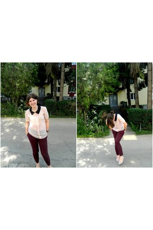 peach blouse - crimson pants