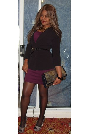 peep toe Aldo shoes - bodycon asos dress - fitted French Conection blazer