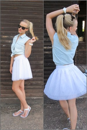 white tutu ebay haul skirt - white plastic Retro sandals