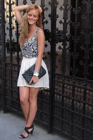 aztec print H&M top - Terranova bag - Bershka skirt - Bershka sandals