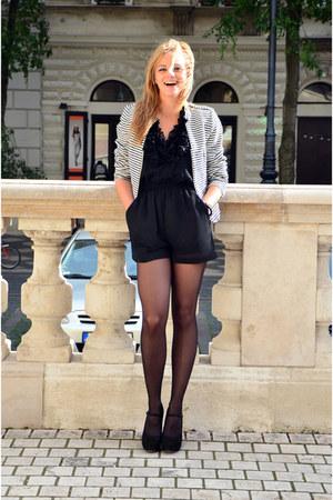 white H&M blazer - dark gray Calzedonia tights - black H&M suit