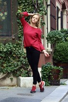 ruby red Zara jumper - black H&M jeans - ruby red nike sneakers
