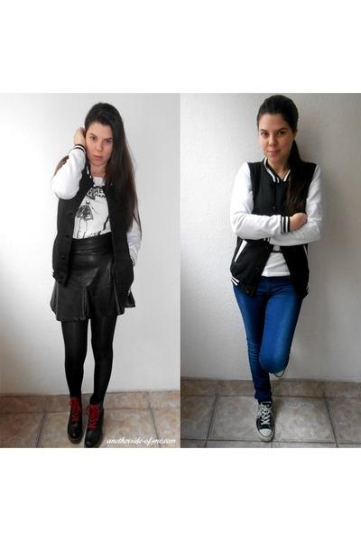 black OASAP jacket - black romwe skirt