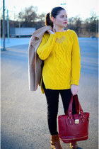 yellow romwe sweater - black American Apparel jeans