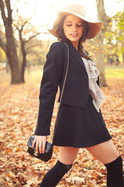 black H&M blazer - tan Bershka hat - black Chanel bag - black knitted F&F socks