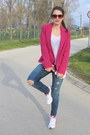 Navy-ripped-abercrombie-and-fitch-jeans-hot-pink-forever-21-blazer
