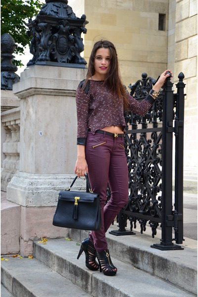 brick red burgundy New Yorker pants - black asos sweater - black Aldo bag