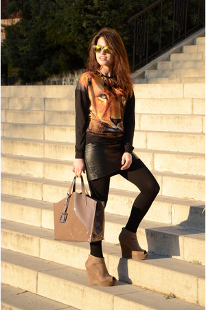 tan leather cabotti bag - black animal print Atmosphere sweater
