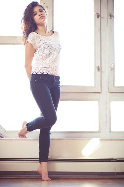 white lace Bershka shirt - black skinny jeans Bershka pants